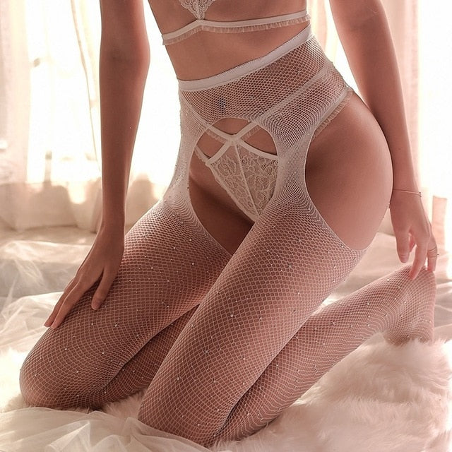 Bling Rhinestone Mesh Fishnet Pantyhose Shiny Stockings Hosiery