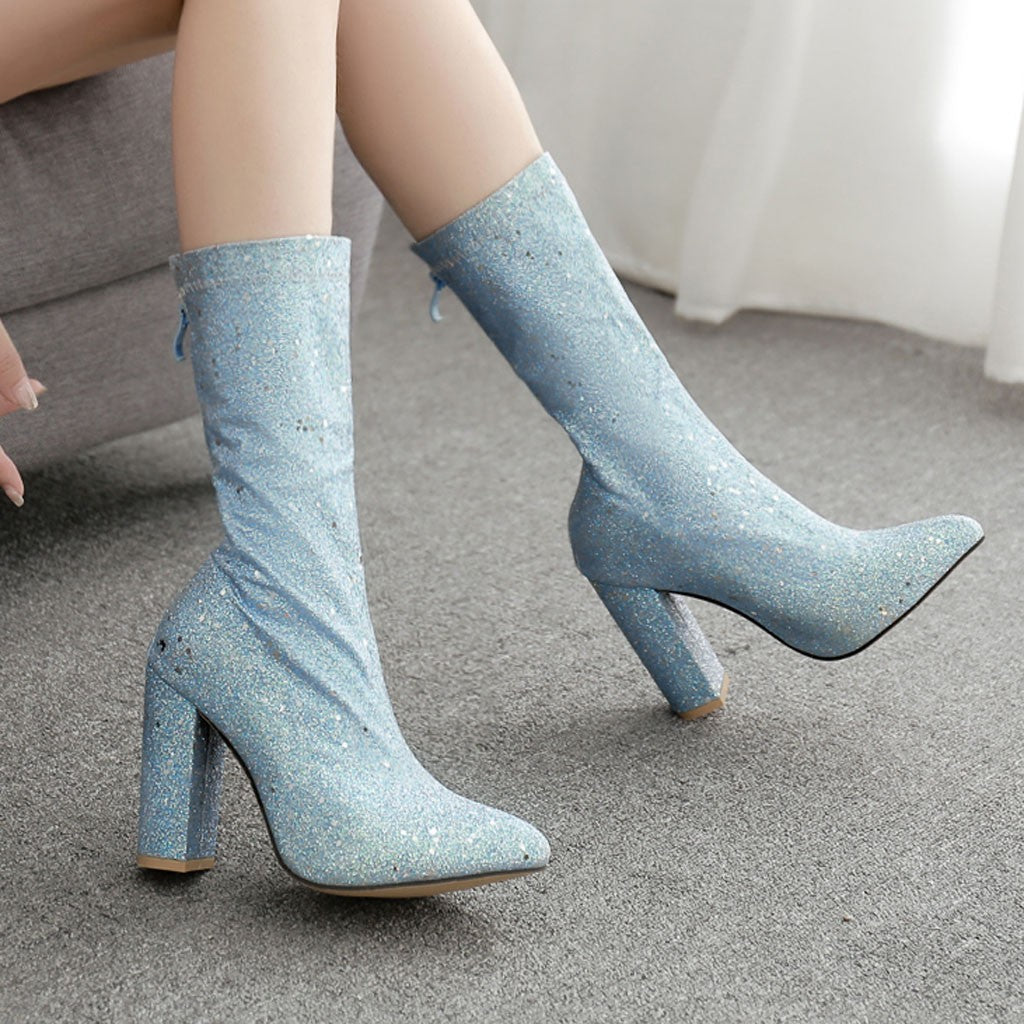 Women's Boots Ankle Pointed Toe Bling Boots Shoes High Heel Zipper Casual Booties Female Comfortable Autumn Shoes M50#