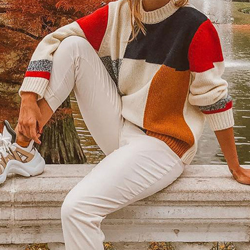 Patchwork Warm Knitted Sweater Pullover Multicolor Women Sweater