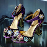 Plus Size Crystal Flower Black Purp Wedding Shoes Rhinestone High Heel