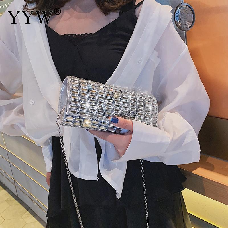 Diamond Rhinestone Clutches Crystal Bling Evening Bag Silver