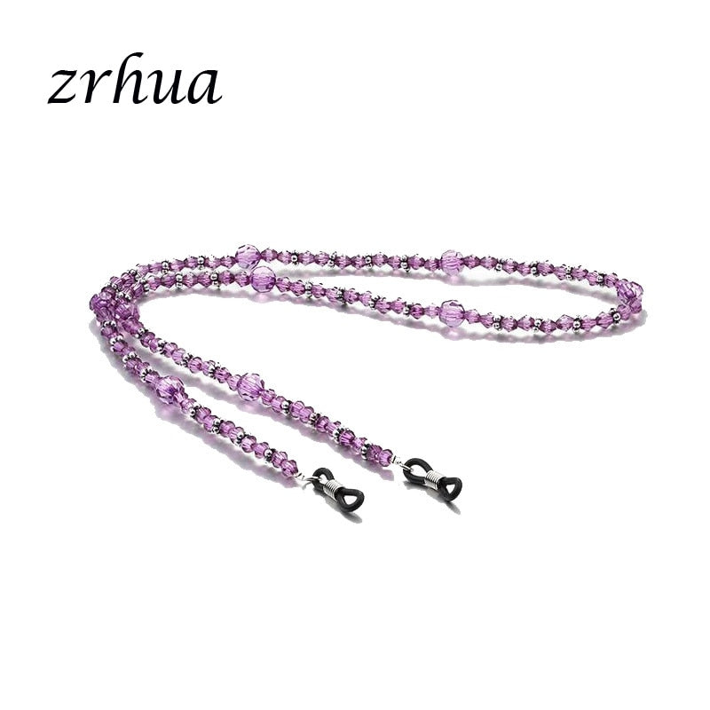 Purple Crystal Nylon Eyeglass Cord Reading Glass Neck Strap Holder Nylon