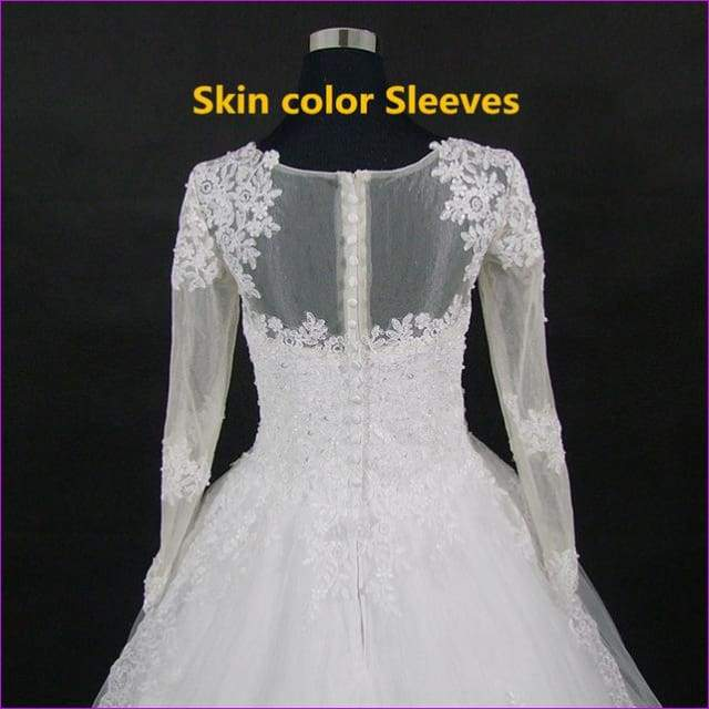 A-Line Vintage Wedding Dress Long Sleeve Bride Dress Wedding Gown - Bridal Dresses