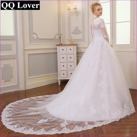 White Backless Lace Mermaid V-Neck Short Sleeve Wedding Gown