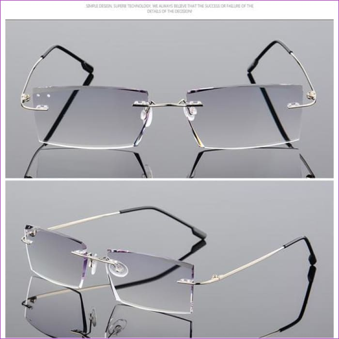 Anti Reflective Rhinestone Reading Glasses Men Square Titanium Diamond Cut - +100 / 1 - Reading Glasses Reading Glasses