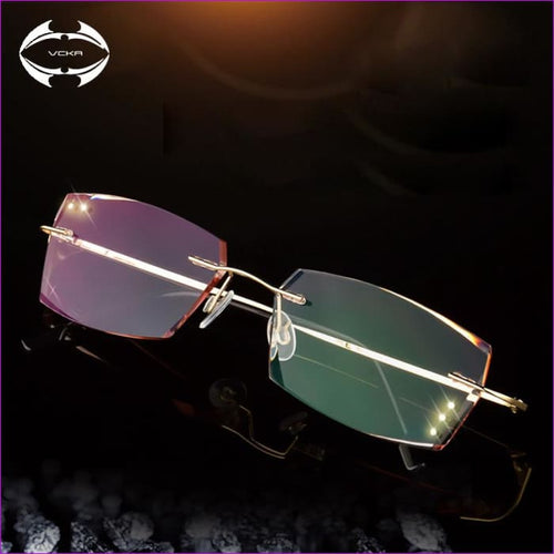 Anti Reflective Rhinestone Reading Glasses Men Square Titanium Diamond Cut - Reading Glasses Reading Glasses