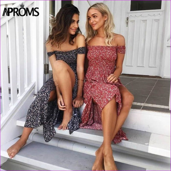 Aproms Sweet Pleated Tube Tunic Maxi Dress Red Floral Off Shoulder High Split Beach Dress Summer 2017 Boho Cool Girls Sundresses - Beach