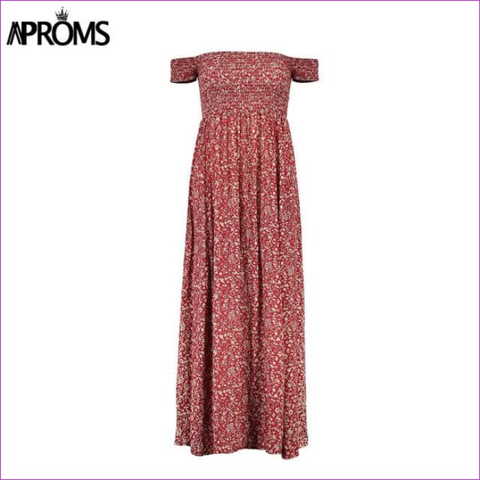 Aproms Sweet Pleated Tube Tunic Maxi Dress Red Floral Off Shoulder High Split Beach Dress Summer 2017 Boho Cool Girls Sundresses - Wine Red