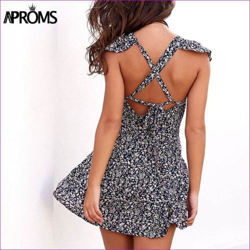 Aproms Wine Floral Print Boho Short Dress Women Backless High Waist Summer Dress Vintage Beach Dress Sundress Vestidos 11261 - Beach Dresses