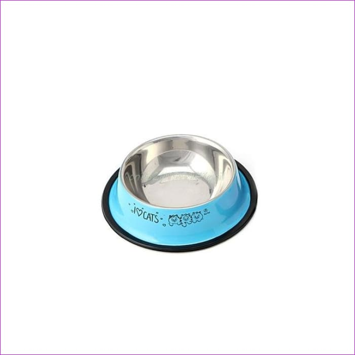 Arrival Pet Product For Dog Cat Bowl Stainless Steel Anti-skid Pet Dog Cat Food Water Bowl Pet Feeding Bowls Tool 2 Colors#T025# - Blue / S