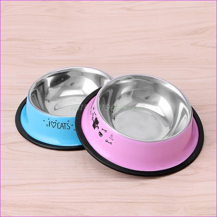 Arrival Pet Product For Dog Cat Bowl Stainless Steel Anti-skid Pet Dog Cat Food Water Bowl Pet Feeding Bowls Tool 2 Colors#T025# - Cats Cats