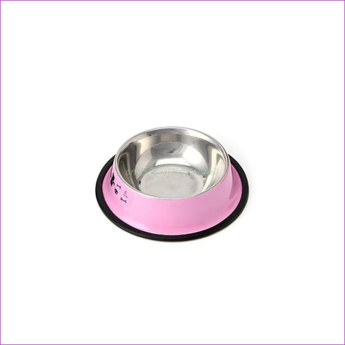 Arrival Pet Product For Dog Cat Bowl Stainless Steel Anti-skid Pet Dog Cat Food Water Bowl Pet Feeding Bowls Tool 2 Colors#T025# - Pink / S