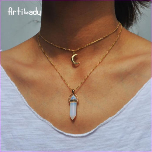Artilady natural opal stone moon choker necklace fashion gold color stone stone crystal pendant necklace for women 11 - Pendants Pendants