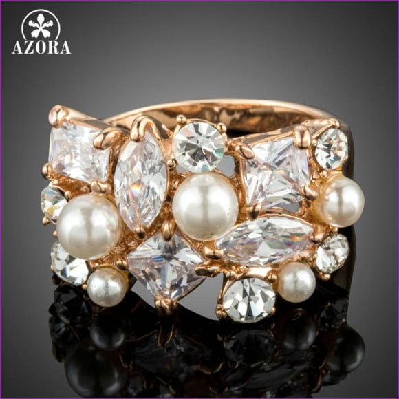 AZORA Rose Gold Color Multi-shape Cubic Zirconia Set with Simulated Pearls Rings for Women TR0183 - Womens Rings Womens Rings
