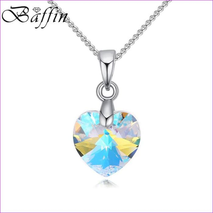 BAFFIN Mini XILION Heart Pendant Necklace Crystals From SWAROVSKI Elements Silver Color Chain Necklaces For Women Kids Jewelry - Crystal AB