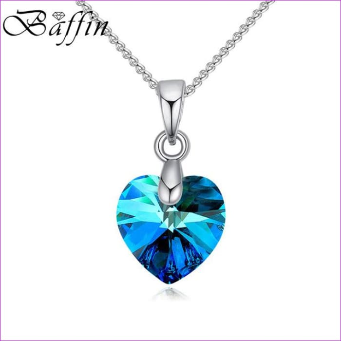 BAFFIN Mini XILION Heart Pendant Necklace Crystals From SWAROVSKI Elements Silver Color Chain Necklaces For Women Kids Jewelry - Crystal BB