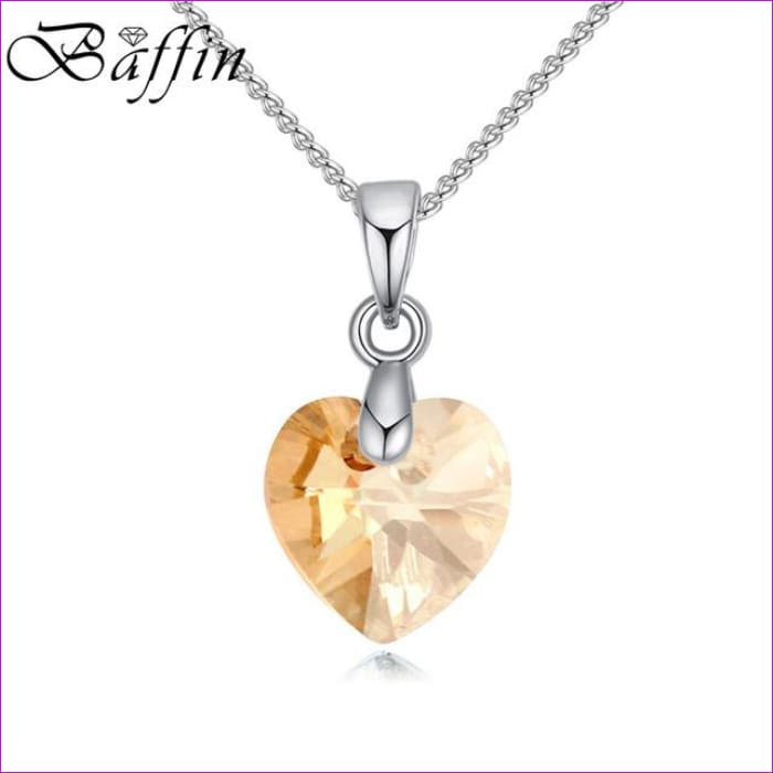BAFFIN Mini XILION Heart Pendant Necklace Crystals From SWAROVSKI Elements Silver Color Chain Necklaces For Women Kids Jewelry - Crystal