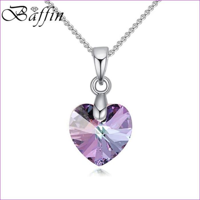BAFFIN Mini XILION Heart Pendant Necklace Crystals From SWAROVSKI Elements Silver Color Chain Necklaces For Women Kids Jewelry - Crystal VL