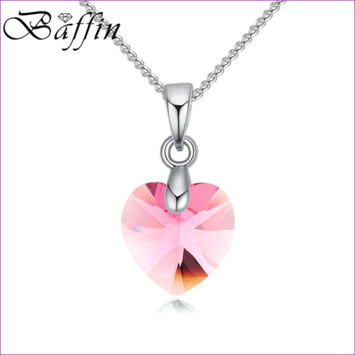 BAFFIN Mini XILION Heart Pendant Necklace Crystals From SWAROVSKI Elements Silver Color Chain Necklaces For Women Kids Jewelry - Light Rose