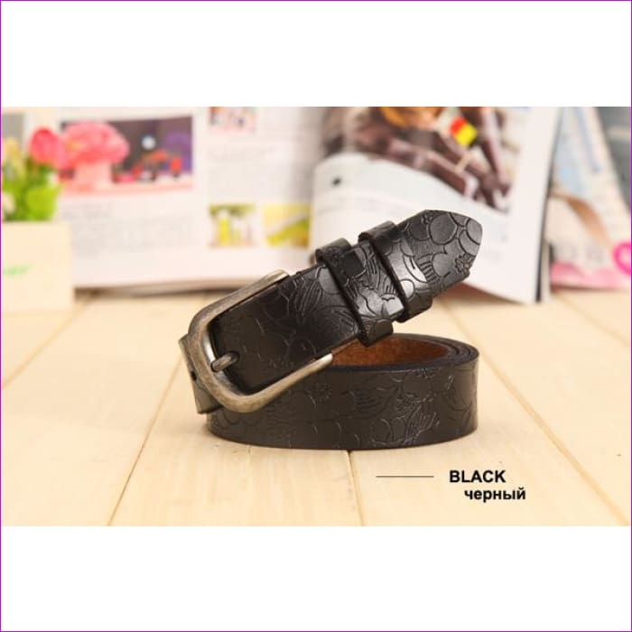 Belt Thin Genuine Leather Belt womens 6 Colour Floral carved Belts For Women Ceinture Femme - black / 90cm Waist 60cm - Womens Belts