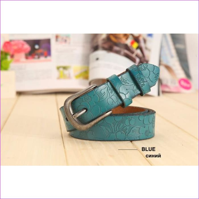 Belt Thin Genuine Leather Belt womens 6 Colour Floral carved Belts For Women Ceinture Femme - blue / 90cm Waist 60cm - Womens Belts