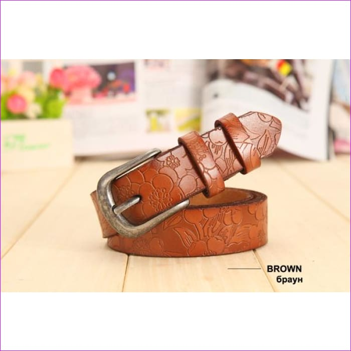 Belt Thin Genuine Leather Belt womens 6 Colour Floral carved Belts For Women Ceinture Femme - brown / 90cm Waist 60cm - Womens Belts