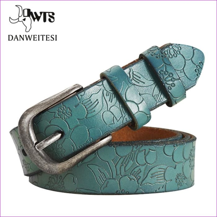 Belt Thin Genuine Leather Belt womens 6 Colour Floral carved Belts For Women Ceinture Femme - Womens Belts cf-color-black cf-color-blue