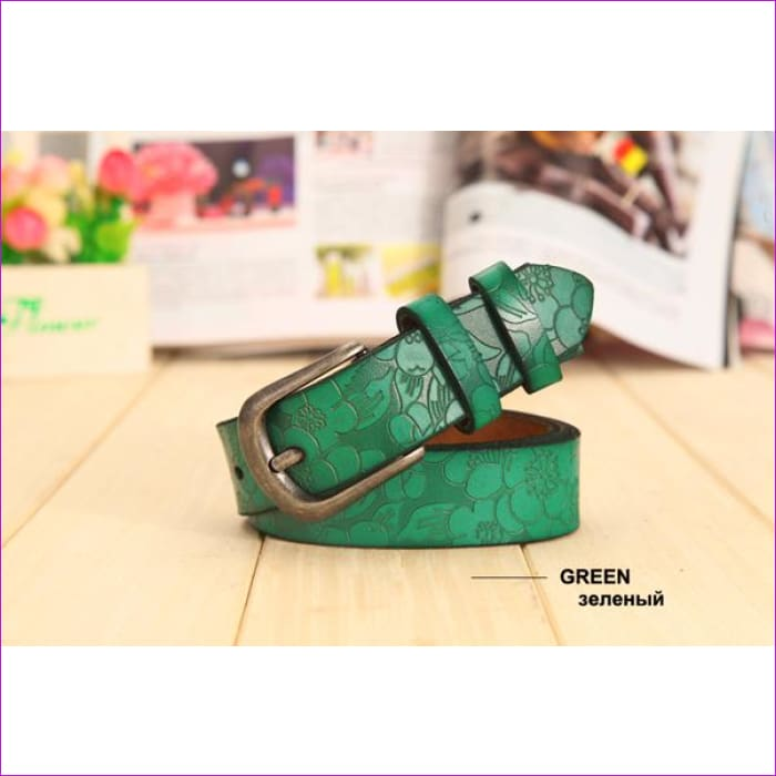 Belt Thin Genuine Leather Belt womens 6 Colour Floral carved Belts For Women Ceinture Femme - green / 90cm Waist 60cm - Womens Belts