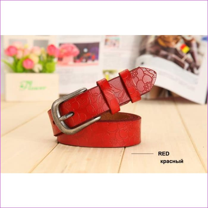 Belt Thin Genuine Leather Belt womens 6 Colour Floral carved Belts For Women Ceinture Femme - red / 90cm Waist 60cm - Womens Belts