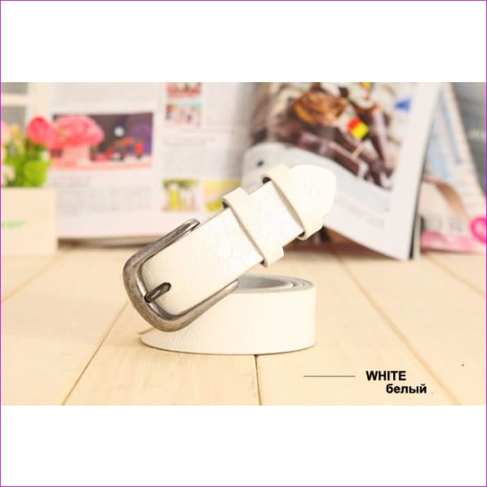 Belt Thin Genuine Leather Belt womens 6 Colour Floral carved Belts For Women Ceinture Femme - white / 90cm Waist 60cm - Womens Belts