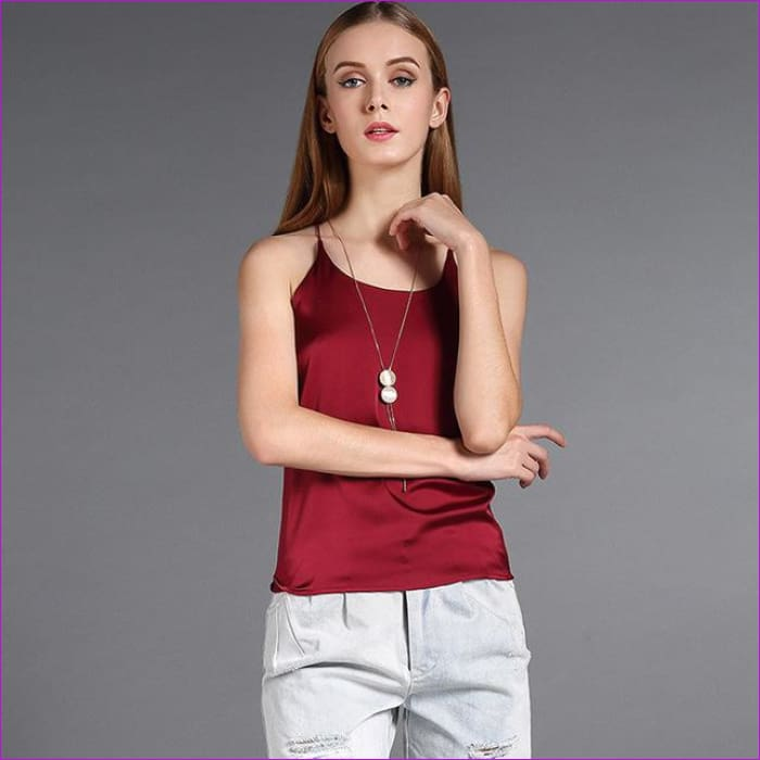 BeryBella Women Chiffon Camis Roupas Slik 2018 Summer Style Female Solid Black Sleeveless Camisole Sexy Pink Halter Top Tanks - Dark Red / L
