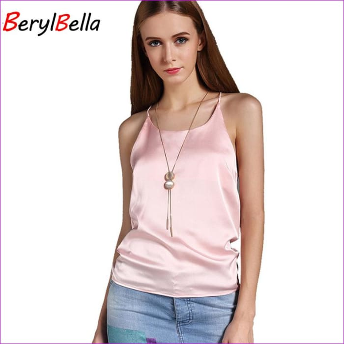 BeryBella Women Chiffon Camis Roupas Slik 2018 Summer Style Female Solid Black Sleeveless Camisole Sexy Pink Halter Top Tanks - Blue / L -