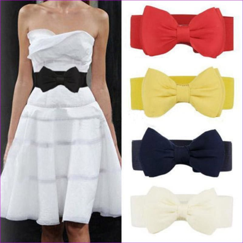 Big Bow Waistband Elastic Wide Dress Stretch New Designer Belts for Women Vintage Girls Cinch Belt - Womens Belts