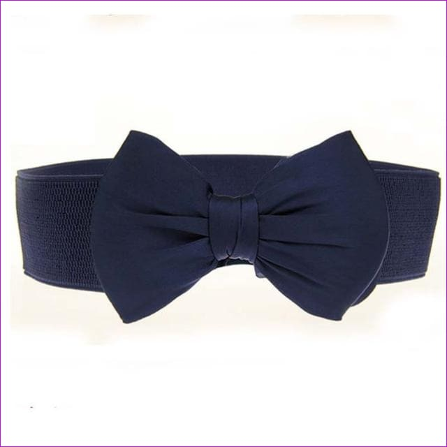 Big Bow Waistband Elastic Wide Dress Stretch New Designer Belts for Women Vintage Girls Cinch Belt - navy blue - Womens Belts