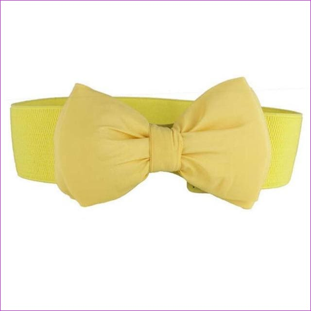 Big Bow Waistband Elastic Wide Dress Stretch New Designer Belts for Women Vintage Girls Cinch Belt - yellow - Womens Belts