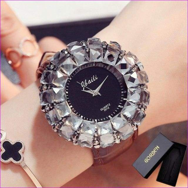 Bling Bling Black Rhinestone Quartz Wrist Watches For Women Elegant Leather Band Strap Exquisite Gifts Box - Brown With Box - Womens Watches