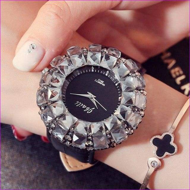 Bling Bling Black Rhinestone Quartz Wrist Watches For Women Elegant Leather Band Strap Exquisite Gifts Box - Black - Womens Watches