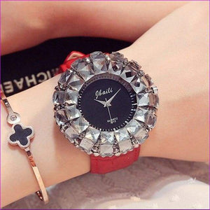 Bling Bling Black Rhinestone Quartz Wrist Watches For Women Elegant Leather Band Strap Exquisite Gifts Box - Red - Womens Watches