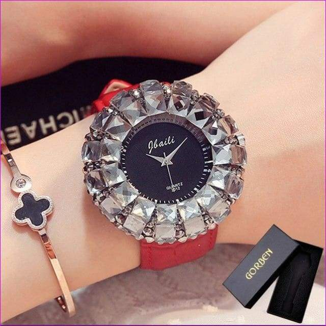 Bling Bling Black Rhinestone Quartz Wrist Watches For Women Elegant Leather Band Strap Exquisite Gifts Box - Red With Box - Womens Watches