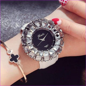 Bling Bling Black Rhinestone Quartz Wrist Watches For Women Elegant Leather Band Strap Exquisite Gifts Box - White - Womens Watches