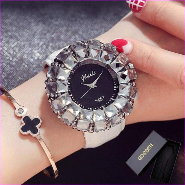 Bling Bling Black Rhinestone Quartz Wrist Watches For Women Elegant Leather Band Strap Exquisite Gifts Box - White With Box - Womens Watches