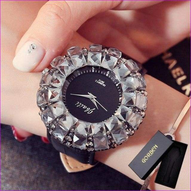 Bling Bling Black Rhinestone Quartz Wrist Watches For Women Elegant Leather Band Strap Exquisite Gifts Box - Black With Box - Womens Watches