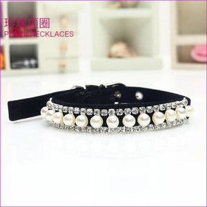 Bling Pearl Pet Necklace Dog Collar Rhinestone Crystal Cat Collar Safety Elastic Belt & Bell Diamond Necklace 18-32cm neckline - Cats