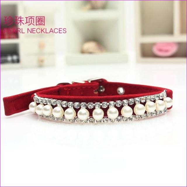 Bling Pearl Pet Necklace Dog Collar Rhinestone Crystal Cat Collar Safety Elastic Belt & Bell Diamond Necklace 18-32cm neckline - Red / M -