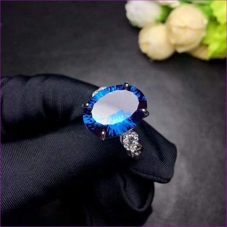 Blue Topaz Gemstone Natural Ring Real 925 Sterling Silver - Rings