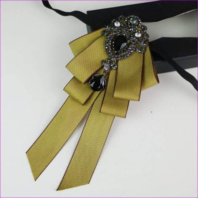Bowties Tie Brooch Ribbon Flower Collar Rhinestone Cameo Pins And Brooches - 15 - Tuxedo Shirts