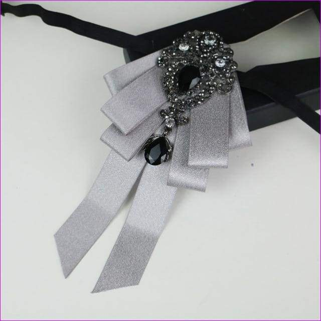 Bowties Tie Brooch Ribbon Flower Collar Rhinestone Cameo Pins And Brooches - 4 - Tuxedo Shirts
