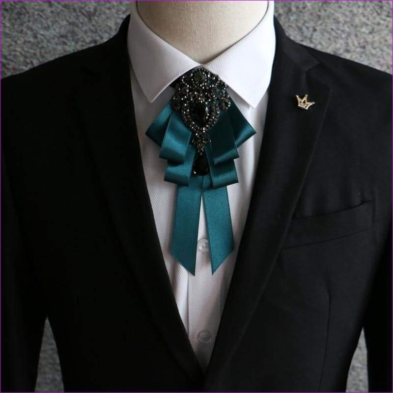 Bowties Tie Brooch Ribbon Flower Collar Rhinestone Cameo Pins And Brooches - 9 - Tuxedo Shirts