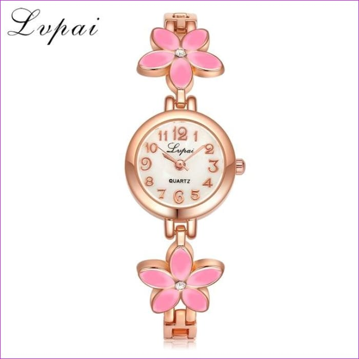 Bracelet Quartz Wristwatch Rhinestone Ladies Fashion Watch Crystal Gold Bracelet - Rose Gold Pink - Womens Watches cf-color-black