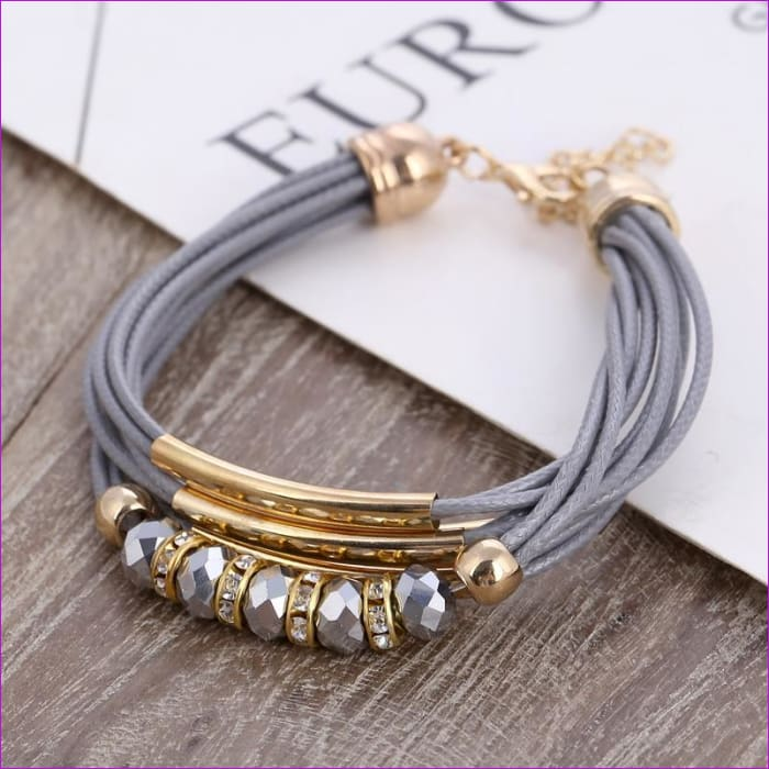 Bracelet Wholesale 2018 New Fashion Jewelry Leather Bracelet for Women Bangle Europe Beads Charms Gold Bracelet Christmas Gift - Bracelets
